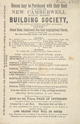 Advert for the New Camberwell Mutual Benefit Building Society 6966